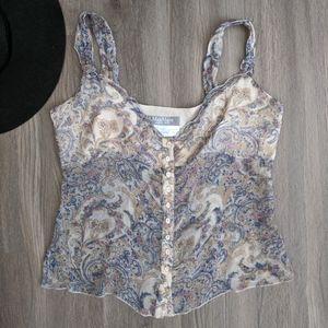 Max Mara Silk Paisley Button Front Blouse 10/M